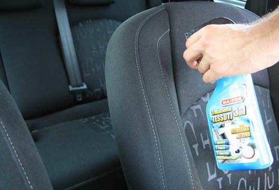 Pulire sedili auto: i Trattamenti 3in1 tessuti e pelle di Ma-Fra!