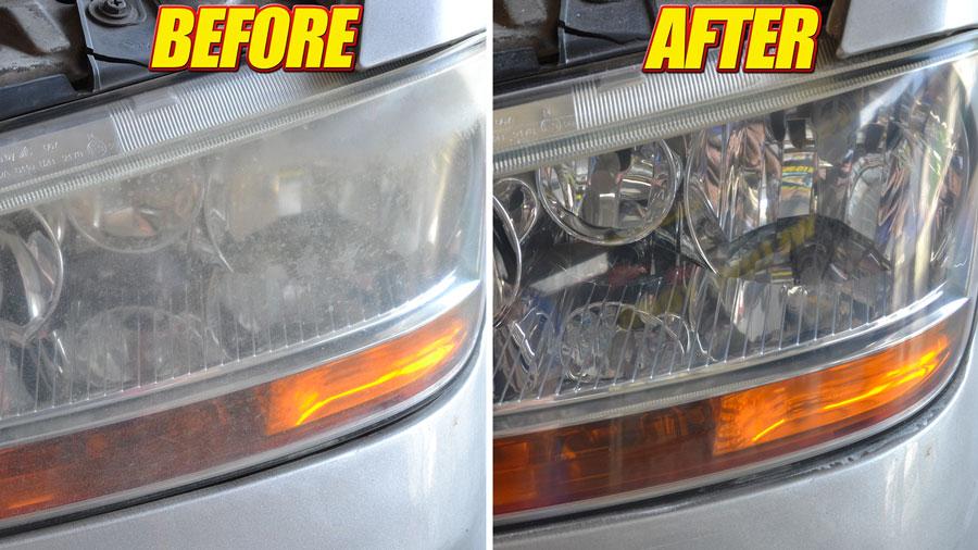 pulire fari auto con prodotti Ma-Fra: prima e dopo