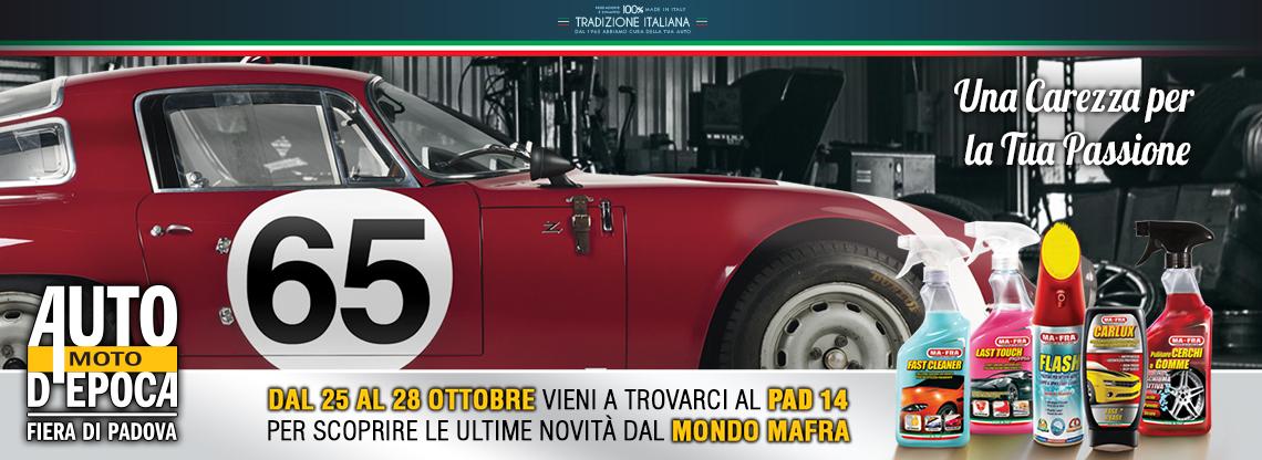 Mafra e #Labocosmetica al Salone Auto e Moto d'Epoca Padova 2018 dal 25 al 28 ottobre presso il Pad. 14