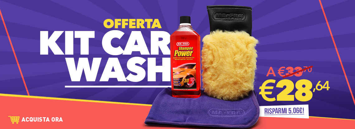 Banner presentazione Kit Car Wash e guanto microlana All Seasons disponibile su Mafra Shop