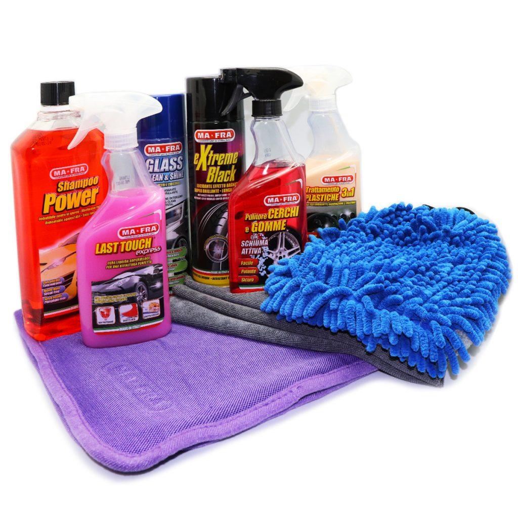 Kit pulizie di Primavera Mafra Shop prodotti mafra disposti uno vicino all'altro