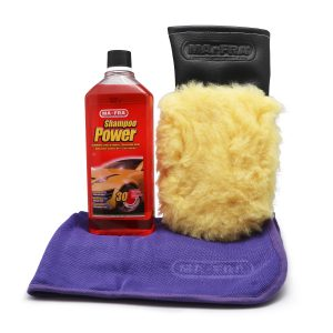 Kit Car Wash composto da guanto in microlana All Seasons, Shampoo Power e pano Super Dryer