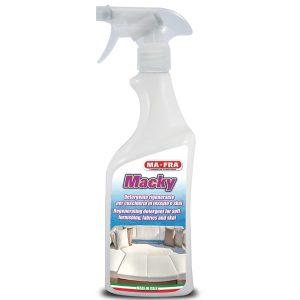Macky detergente per cuscineria in tessuto e skay lo trovi all'interno del kit nautico pulizia barca disponibile solo su Mafra Shop