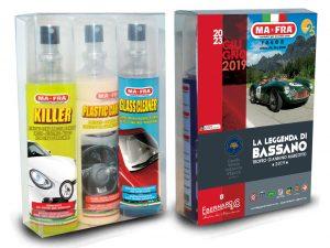 Leggenda di Bassano, Mafra Sponsor Tecnico omaggia Welcome Kit composti da 3 prodotti: Killer 125ml rimuovi insetti, Trattamento 3in1 Plastiche 125ml, Glass Cleaner 125ml pulitore vetri
